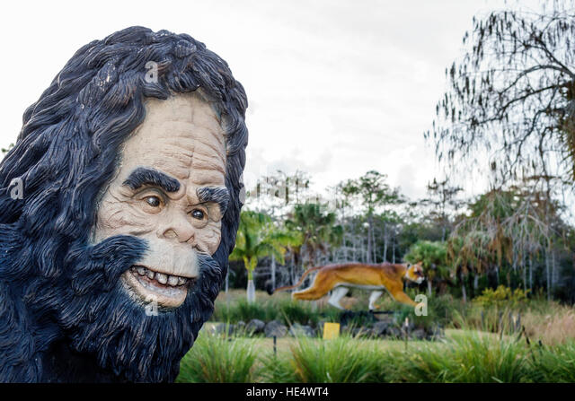 Florida The Everglades Tamiami Trail Skunkape Headquarters panther statue - Stock Image