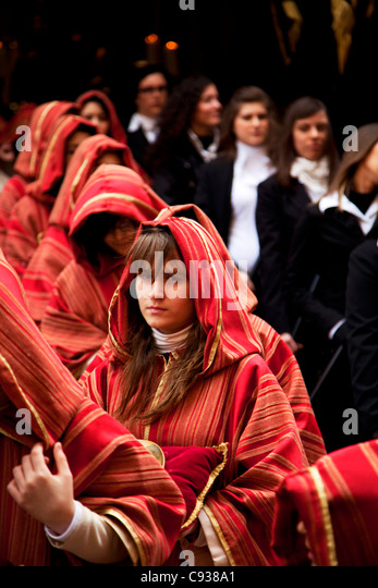 Sicily, Italy, The 'Misteri' of Trapani'; one of the oldest and the longest procession in Italy. - Stock-Bilder