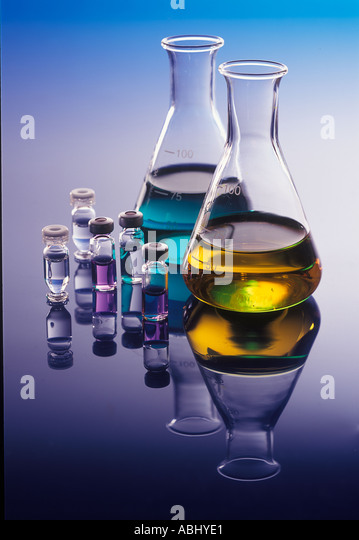 test ampules in a laboratory - Stock Image