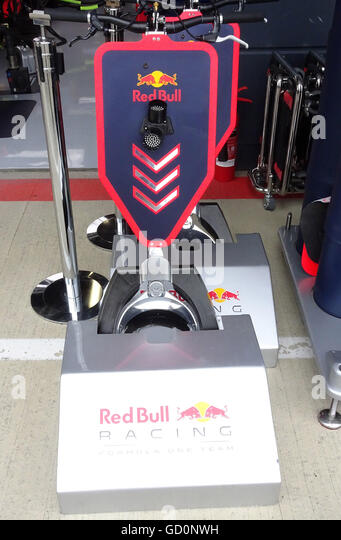 Silverstone, UK. 10th July, 2016. British F1 Grand Prix at Silverstone UK Pit Lane garages Credit:  Leo Mason/Alamy - Stock Image