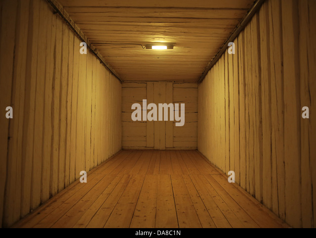 Picture presenting old wooden interior in builiding - Stock Image