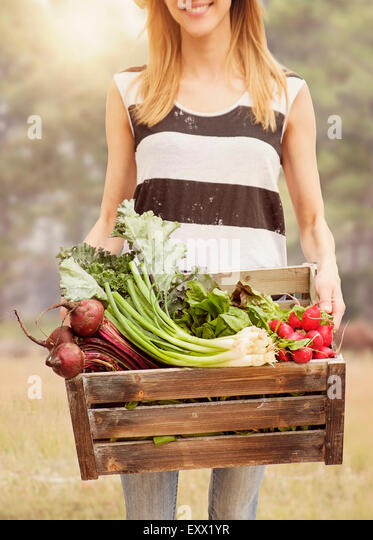 Woman carrying fresh vegetables in box - Stock Image