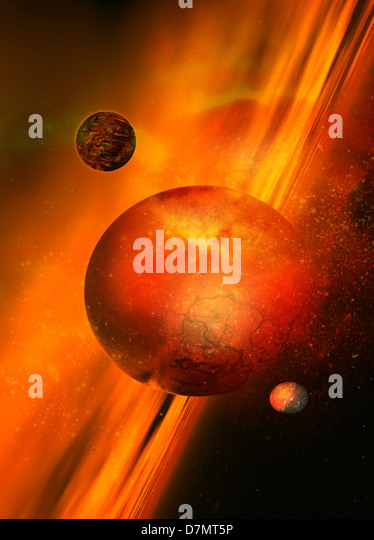 Planetary formation, artwork - Stock Image