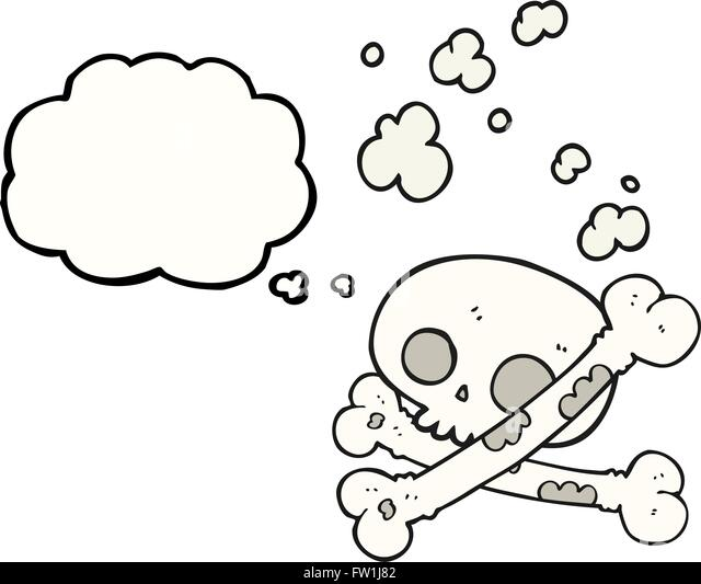 freehand drawn thought bubble cartoon old pile of bones - Stock-Bilder