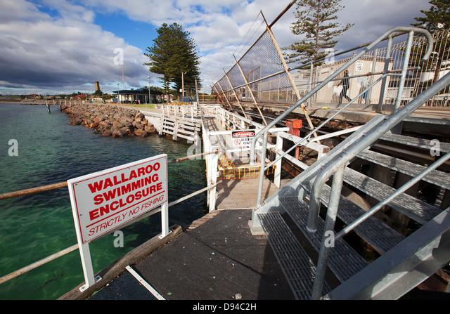 Wallaroo jetty foreshore stairs swimming enclosure Norfolk island pine trees Yorke Peninsula South Australia - Stock Image