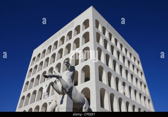 Palazzo della Civilta Italiana, EUR, Rome, Lazio, Italy, Europe - Stock Image