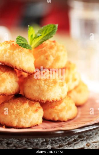 Stack of coconut macaroons - Stock Image