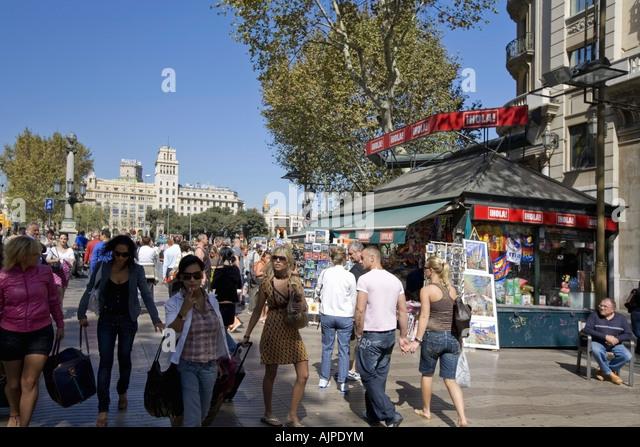 Spain Barcelona Las Ramblas Plaza de Catalunya tourists kiosk - Stock Image