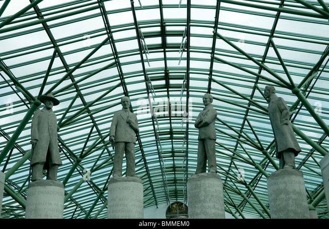 Close-up sculptures columns of famous Poles pioneers in logic in the foyer at the Warsaw University Library, Poland, - Stock Image