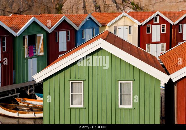 Boat huts in Smogen, Bohuslan Coast, Sweden - Stock Image