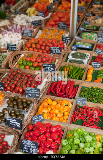 Various vegetables presented on a market - Stock Image