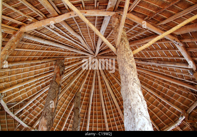 Hut palapa traditional cabin sun roof wiev from above Mexico architecture - Stock Image