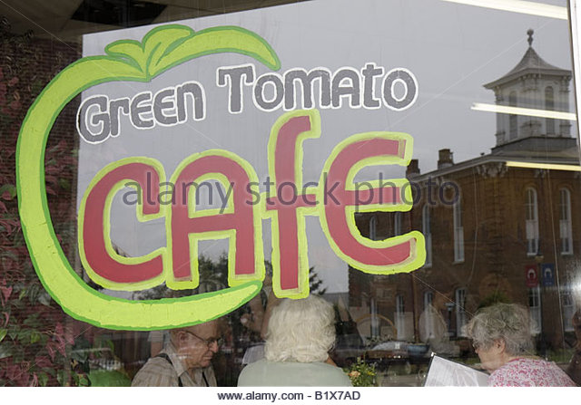 Arkansas Pocahontas Old Historic Courthouse Square Green Tomato Cafe restaurant Courthouse reflection built 1873 - Stock Image