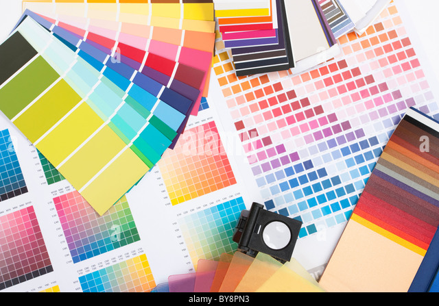 colour spectrum of swatches as used by a graphic designer or painter - Stock Image