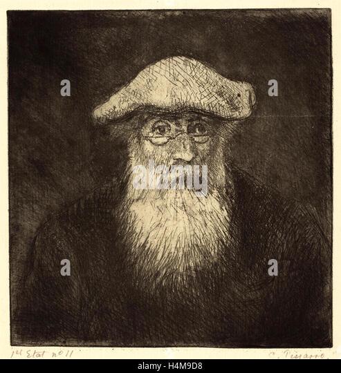 Camille Pissarro, French (1830-1903), Self-Portrait (Camille Pissarro, par lui-meme), c. 1890, etching (zinc) - Stock-Bilder