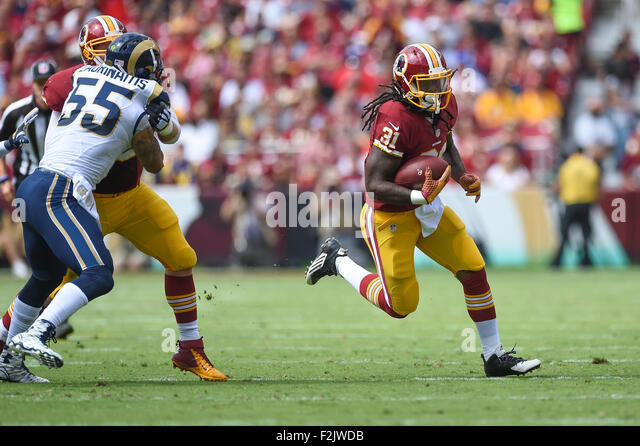 Landover, MD., USA. 20th September, 2015. Washington Redskins running back Matt Jones (31) runs for a touchdown - Stock-Bilder