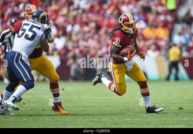Landover, MD., USA. 20th September, 2015. Washington Redskins running back Matt Jones (31) runs for a touchdown - Stock-Bilder