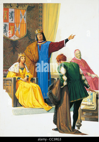 Voyages Of Christopher Columbus (1492-1504) - Christopher Columbus' Son Fernando Pays Homage To Queen Isabella. - Stock-Bilder