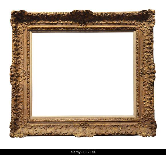 Vintage ornamental gold frame isolated over a white background - Stock-Bilder