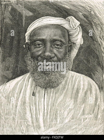 Tippu Tib or Tip Slave & Ivory Trader, Emin Pasha Relief Expedition 1886 to 1889 - Stock-Bilder