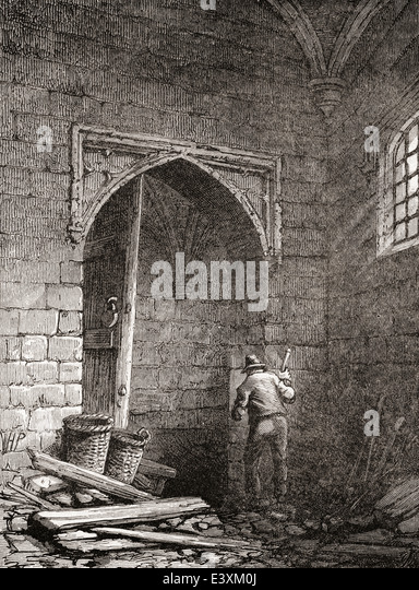 The cellar where Guy Fawkes and his accomplices placed gunpowder under Parliament House, London, England. - Stock Image