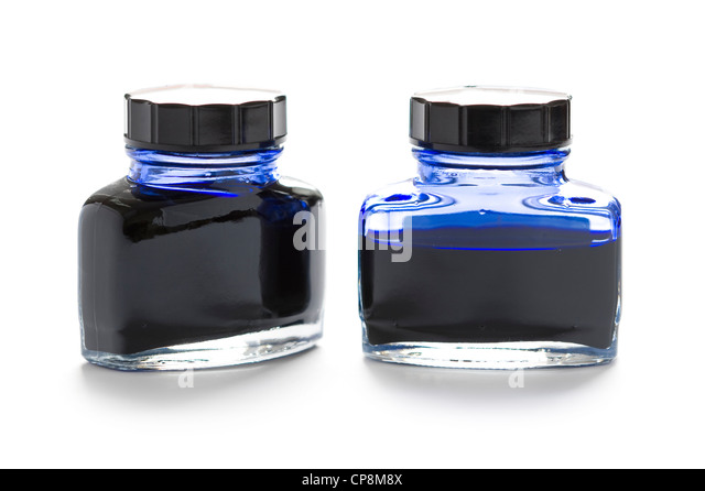 two bottles of blue writing ink one half empty isolated on a white background - Stock Image