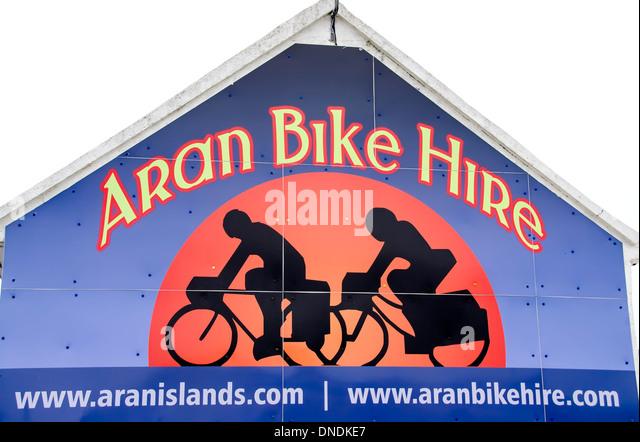 Aran Bike Hire sign at Kilronan village, Inishmore, Aran Islands, Ireland. - Stock Image