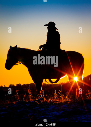 Cowboy on horse at sunrise on a ranch in Hulett, Wyoming - Stock Image