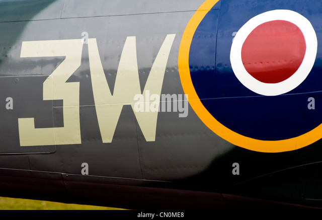 Close up of the fuselage of a Spitfire aircraft - Stock Image