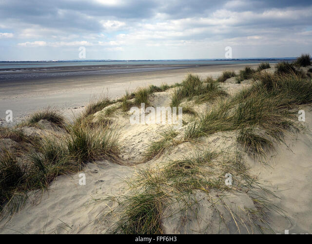 Sand dunes and beach at East Head, West Wittering, West Sussex - Stock Image
