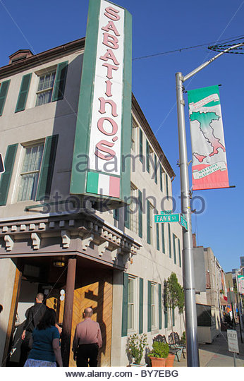 Baltimore Maryland Little Italy ethnic neighborhood business restaurant Sabatino's Italian cuisine dining banner - Stock Image