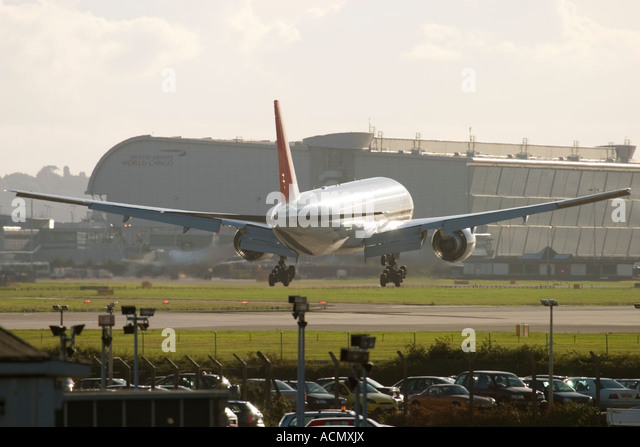 Airliner landing at London Heathrow Airport England UK - Stock Image