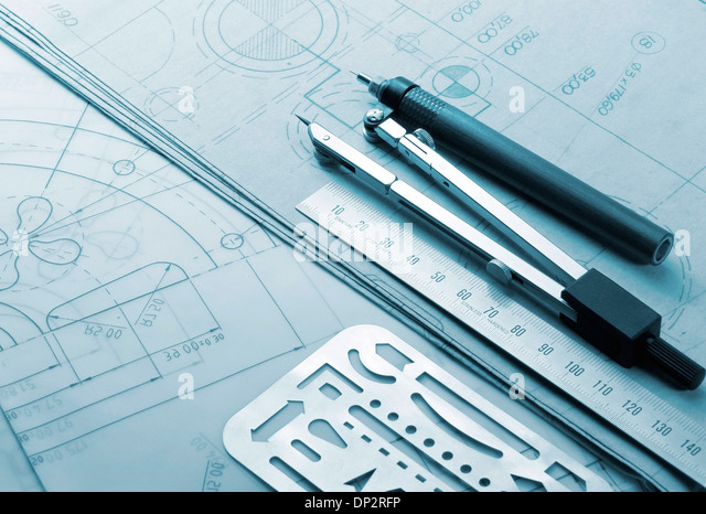 Technical drawing instruments - Stock Image