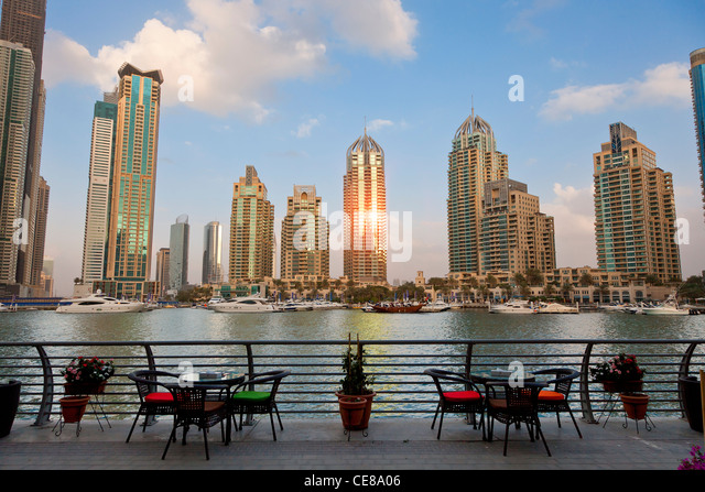 Asia, Arabia, Dubai Emirate, Dubai, Harbor and Skyscrapers of Dubai Marina - Stock Image