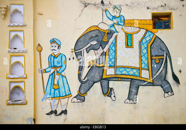 elephant mural on wall stock photos elephant mural on wall stock images alamy. Black Bedroom Furniture Sets. Home Design Ideas