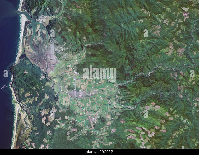 aerial photo map of Tilamook, Oregon - Stock Image