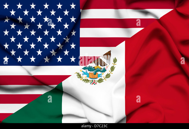 United States of America and Mexico waving flag - Stock Image