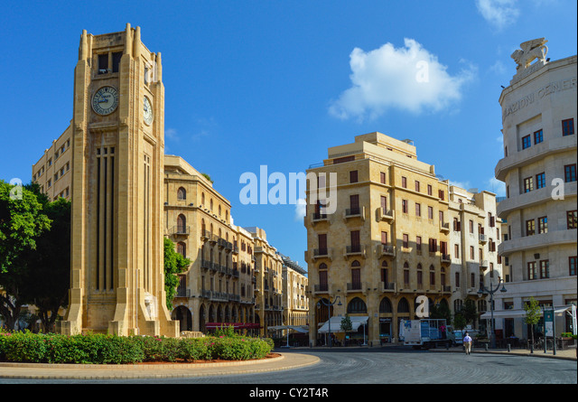 Ottoman Clock Tower, Nejme Square, Downtown Beirut, Lebanon, Middle East - Stock Image