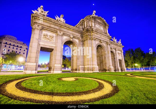 Madrid, Spain at Puerta de Alcala gate. - Stock-Bilder