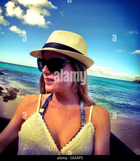 Caribbean Saint Maarten islands portrait - fashion, beach, travel, lifestyle - Stock Image