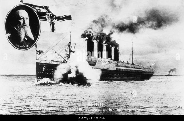 9 1915 5 7 A1 2 E Lusitania Propaganda postcard World War I War at sea 7th May 1915 The Cunard steamer Lusitania - Stock-Bilder