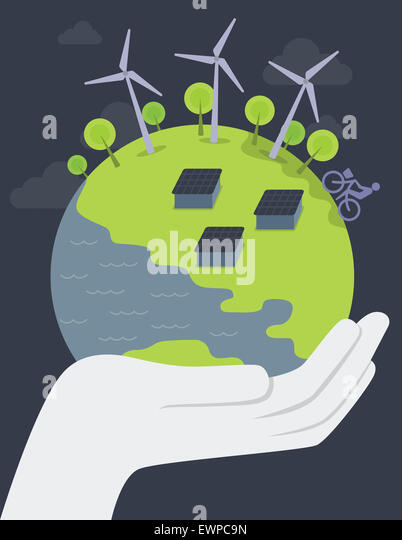 Illustrative image of human hand holding globe representing concepts of save earth - Stock Image