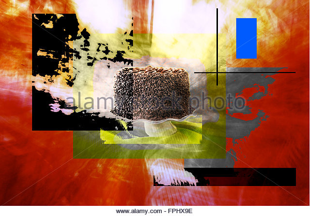 Eating disorder,painting with photography - Stock Image