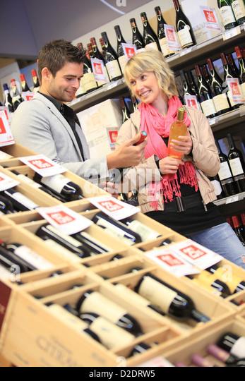 France, supermarket, wine. - Stock Image
