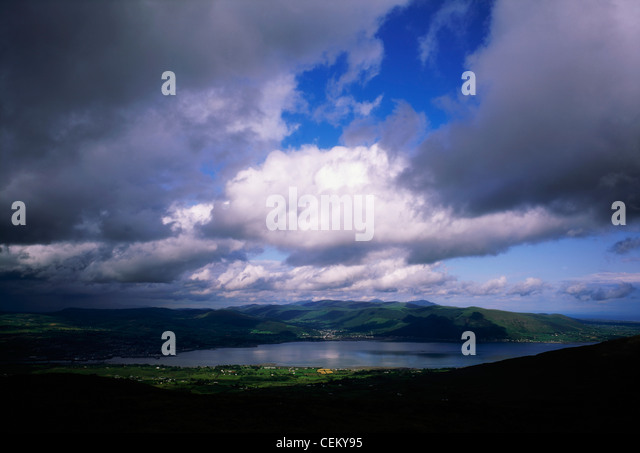Co Down, Panorama Of Mourne Mountains And Carlingford Lough, Ireland - Stock Image