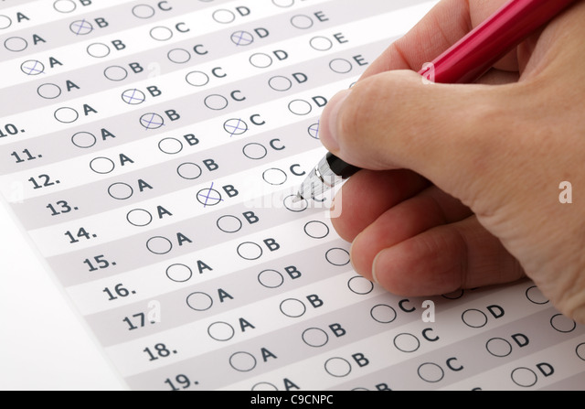 Customer service satisfaction survey or exam multiple choice - Stock Image