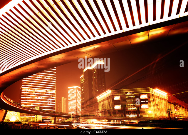 Night view of highway viaduct in Shanghai - Stock Image