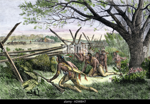 Native Americans preparing to attack a white settlers home - Stock Image