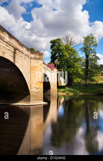 Bridge over the River Wharfe between Boston Spa and Thorp Arch, West Yorkshire, Yorkshire, England, United Kingdom, - Stock Image