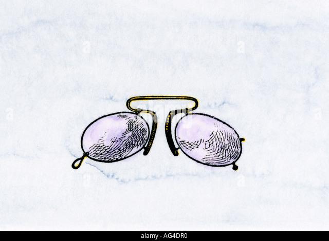 Pince-nez eyeglasses 1800s - Stock-Bilder